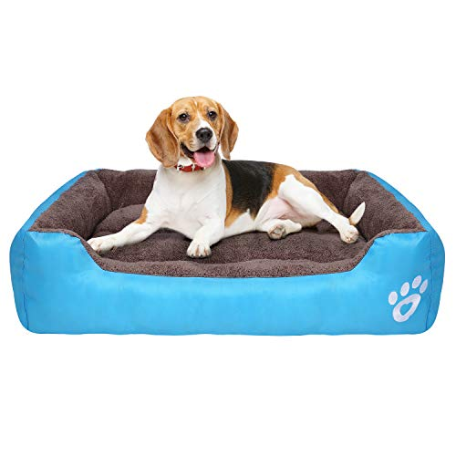 PUPPBUDD Dog Bed for Medium Dogs Washable Comfortable Safety Pet Sofa Extra Firm Cotton Breathable for Medium and Small Dog Blue