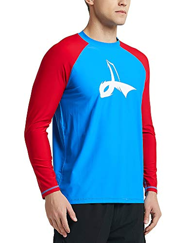 LAFROI Men's Long Sleeve UPF 50+ Loose Fit Rash Guard (BLUnR, XL) rash guard mens bjj 4