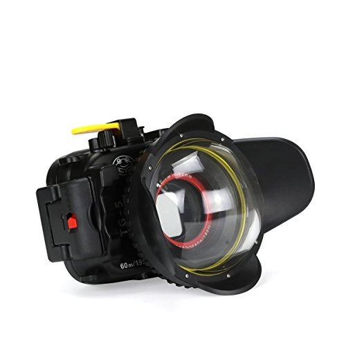 Seafrogs Waterproof case for Olympus TG-5, with Dome Port and Full Color Red Filter Kit, Underwater Camera Housing Case/ 60m/195ft, Apply to take Half Above Water Half Underwater Video/Pictures-Black by HolaFoto (Image #1)