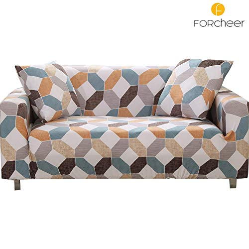 FORCHEER Stretch Sofa Slipcover Printed Pattern 2-Seat Spandex Couch Cover for 3 Cushion Couch 1 Piece Furniture Protector for Living Room, Pets, Loveseat (Protector Furniture My Pet Love)