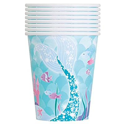 Mermaid Theme Birthday Party Supplies Pack - Serves 16 - Tablecover, Plates, Napkins, Cups, Favor/Loot Bags, Button: Toys & Games
