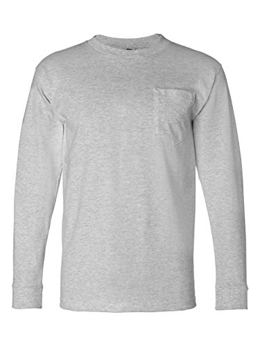 Bayside Adult Long-Sleeve Tee with Pocket 8100 - Dark Ash_L ()