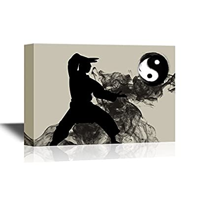Canvas Wall Art - Man Practicing Taiji The Chinese Martial Art - Gallery Wrap Modern Home Art | Ready to Hang - 12x18 inches
