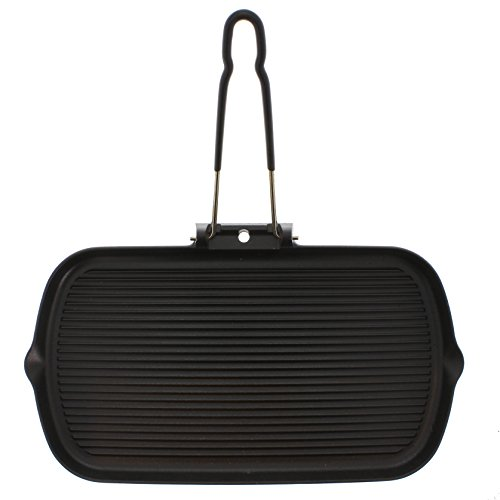 Chasseur 14-inch Rectangular French Cast Iron Grill With Folding Handle