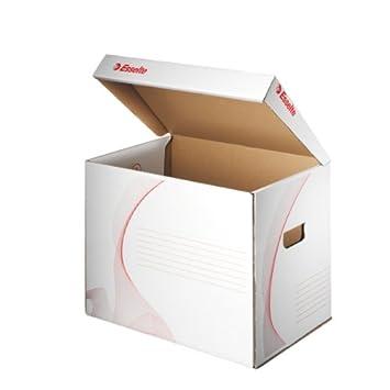 Leitz - Contenedor de archivadores (con tapa, tamaño A4. cartón), color blanco: Amazon.es: Oficina y papelería