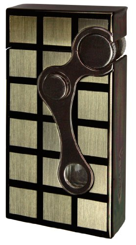 Vector Elite Gunmetal Two Tone Dual Flame Flint Cigar Lighter Torch and Flame