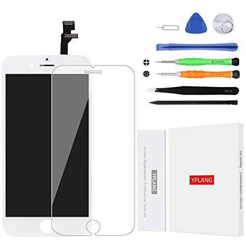 iPhone 6 Screen Replacement White – YPLANG LCD Display Touch Screen Digitizer Frame Assembly Full Set with Free tools and screen protector for iPhone 6 4.7 inch(White)