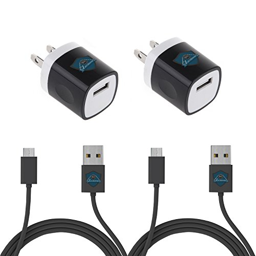 2pcs High Quality 3ft Micro USB Cables With 2pcs Wall Chargers Adapters (Black) by Zecurewire(TM)