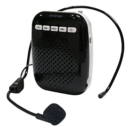 WinBridge Voice Amplifier with Headset Microphone and Lavalier Microphone Lapel Mic Belt Loop Portable Rechargeable PA System Speaker Built In FM Stereo Radio 10W WB378