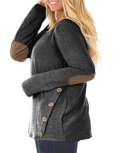 DOLNINE Womens Plus Size Tops Long Sleeve Elbow Patches Button Tunics Tee Shirts