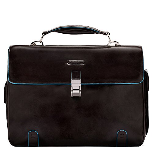 Piquadro Brief Case with 2 Gussets In Leather, Mahogany, One Size by Piquadro