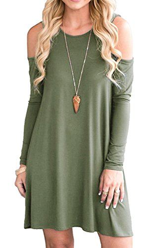 Giotto Women's Long Sleeve Cold Shoulder Casual Tunic Top
