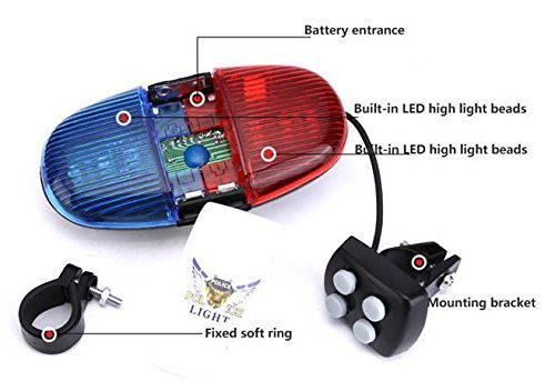 Oumers Bicycle Police Sound Light, Bike LED Light Electric Horn Siren Horn Bell, 6 LED Light 4 Sounds Trumpet, Warning Safety Light, Waterproof Bicycle Lights Accessories, No Batteries in