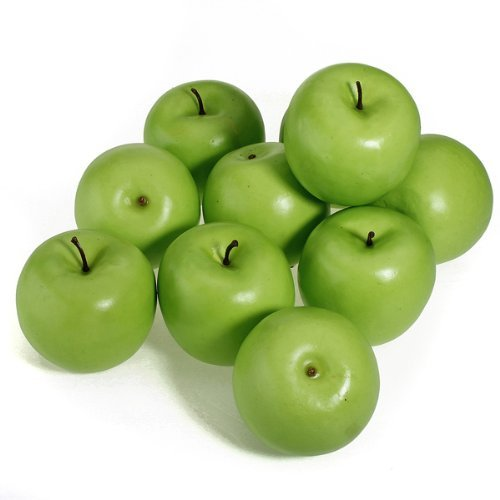 12pcs Decorative Artificial Green Apple Plastic Fruits Home Party Decor