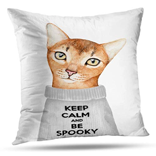 Tyfuty 20 x 20 inch Throw Pillow Covers Ginger Kitty Character Dressed Grey Wool with Funny Keep Calm and Spooky Pillowcases Cushion Use for Living Room Bed Sofa -