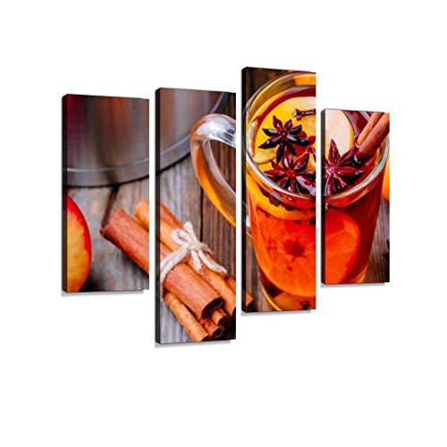 Hot Mulled Apple Cider with Cinnamon Sticks, Cloves and Anise Canvas Wall Art Hanging Paintings Modern Artwork Abstract Picture Prints Home Decoration Gift Unique Designed Framed 4 -