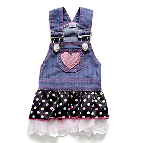 Jim-Hugh Summer Pet Dog Dress Cat Strap Skirt Cute Dot Puppy Clothes Apparels Size XS-XL Large ()