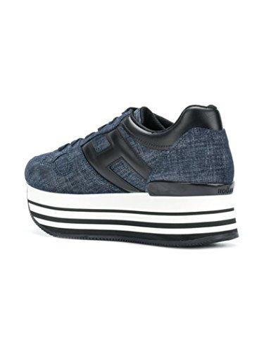 222 Blu Calzatura Sneakers Allacciata Jeans Hogan H283 H Scuro Donna Nera in Grande Maxi Pelle qOntERZ