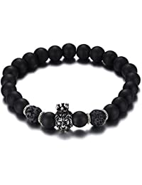 8.5mm Mens Womens Beaded Bracelets Stone Lava Rock Turquoise Lion Head Healing Energy Bracele