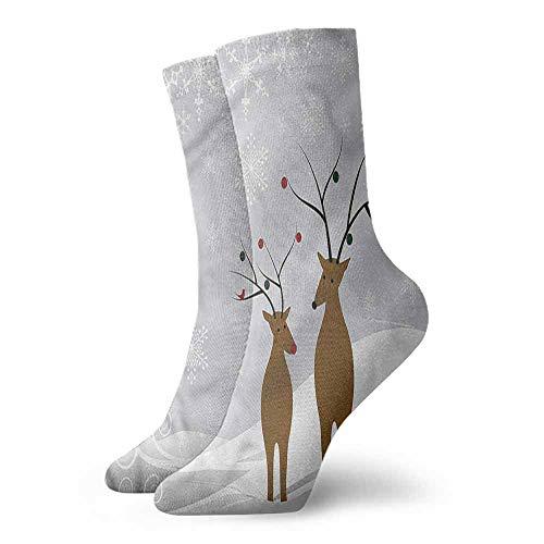 Novelty Socks for Men and Women Christmas Cute Reindeers Noel Unisex Men's & Womens Socks