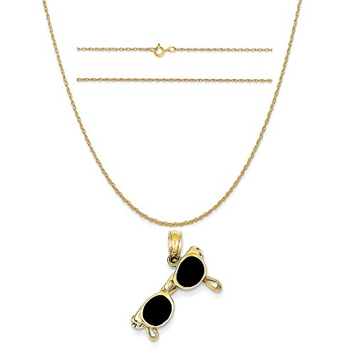 14k Yellow Gold 3-D Black Enameled Moveable Sunglasses Pendant on a Rope Chain Necklace, - C Sunglasses K
