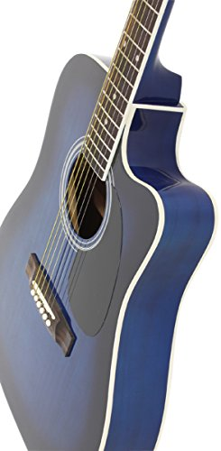 Jameson Guitars Full Size Thinline Acoustic Electric Guitar with Free Gig Bag Case & Picks Blue Right Handed - Image 5