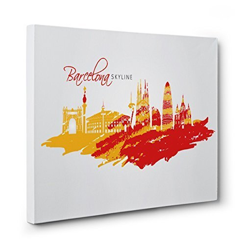 CITIES Barcelona Skyline CANVAS Wall Art Home Décor by Paper Blast