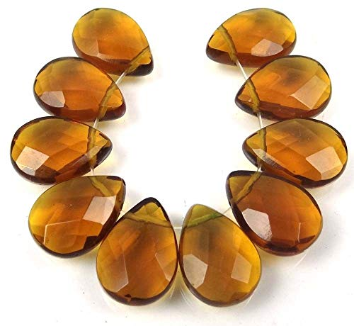 Briolette Bead Mother Pearl Of (ShopForAllYou Decoration Beads 18x13mm Topza Glass Quartz Faceted Briolette Teardrop Beads (10))