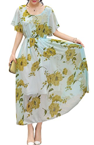 OLRAIN Womens Vintage Floral Printed Cap Sleeve Tea Dress 10 Mint Green