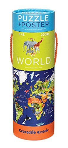 Crocodile Creek World Map 200 piece Jigsaw Puzzle and Matching Poster by Crocodile Creek