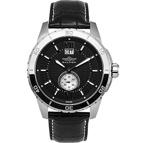 Balmer DB9 Mens Watch - Black Leather Strap, Stainless Steel Case, Black/Silver Dial
