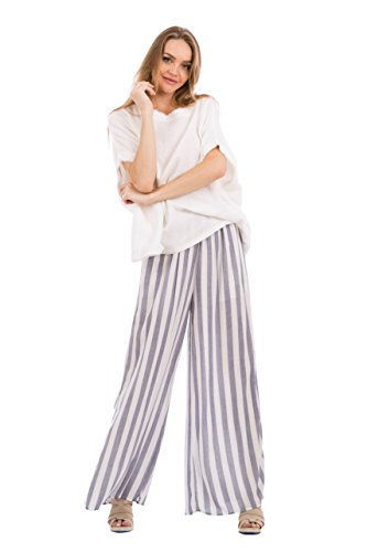 Love In P70010 Wide Leg Striped Pants with Pockets Navy/White M by Love In (Image #6)