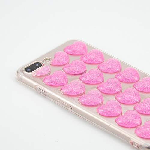 VISHTEA Heart Shape 3D Bubble Case iPhone iPhone 8 Plus Case/iPhone 7 Plus Heart Shape iPhone 8 Plus Case [Slim Thin Fit] Heart Case for iPhone 8 Plus [Wireless Charging] for Apple (Pink)