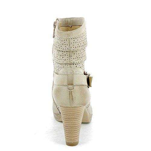 Alesya Scarpe&Scarpe - Stiefeletten mit Absatz, Falten und Schnalle, Leder, mit Absätzen 8 cm - 37,0, Taubengrau