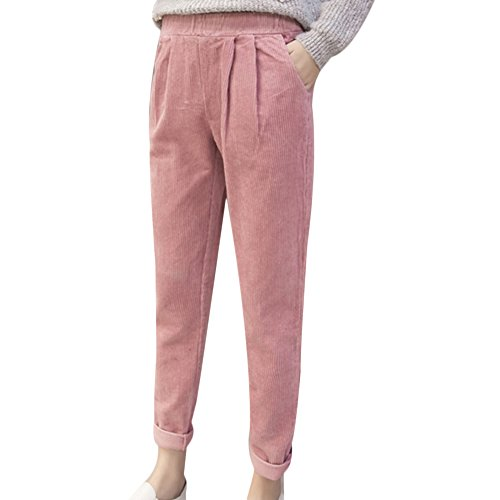 [CHICFOR Corduroy Harem Pants Women Ankle-Length Pants With Pockets (M, Pink)] (Womens Pink Corduroy)