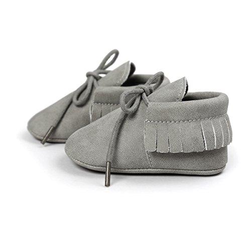 Itaar–Mocasín piel sintética cuna zapatos cordones suela blanda borla diseño para niño infantil con forma de niños y niñas gris Talla:6-12 meses gris