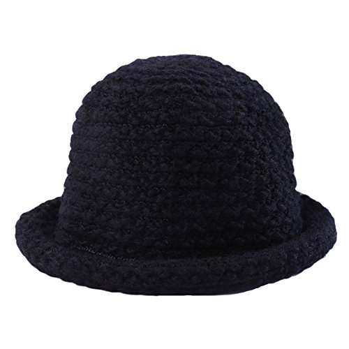 Women's Winter Knit Fishmen Cloche Round Top Skiing Bucket Hat Cap Roll-up Brim - Knit Bucket Hat