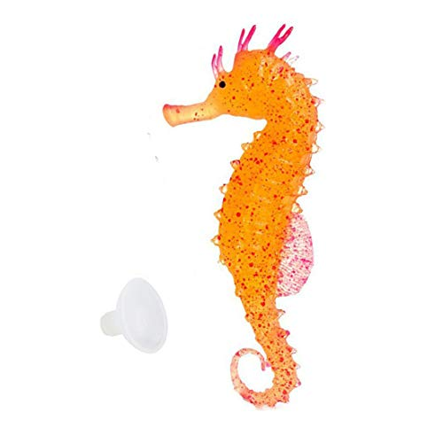 (LDEXIN Fish Tank Decoration Artificial Sea Animal Aquarium Ornament Glowing Floating Effect Artificial Sea Horse Orange Color)