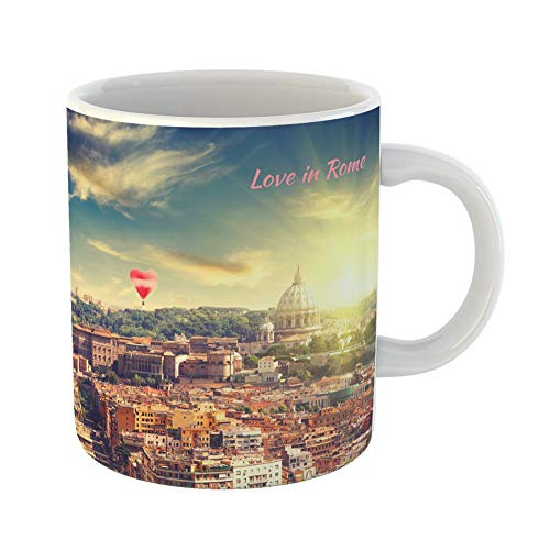 Emvency Funny Coffee Mug Valentine`S Day St Peter Cathedral in Rome Italy at Sunset Red Balloon Form 11 Oz Ceramic Coffee Mug Tea Cup Best Gift Or Souvenir