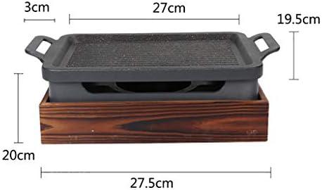 Guoguocy Grills électriques Barbecue, BBQ, 100% Maifan Pierre Anti-adhésif Revêtement, Multifonctionnel Torréfaction Four, intérieur et extérieur, 5 Taille (Size : 27cm*20cm)