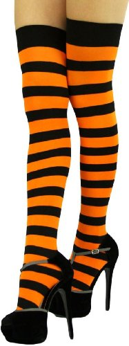 ToBeInStyle Women's Wide Vertical Striped Thigh Hi Stockings Free, Black Orange