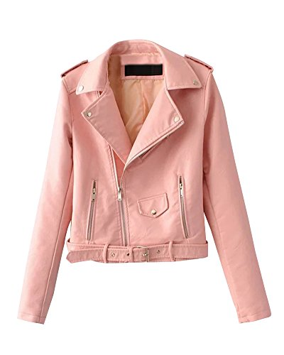 Invierno Chaqueta Mujer Pink De Pu Chaquetas De Con Casual Para Otoño Cazadoras Cremallera Cortos Blazers Cuero UAqHX