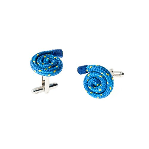 Blue Designer Unique Stylish Handmade Rope String Cufflinks for Men by Wind Passion