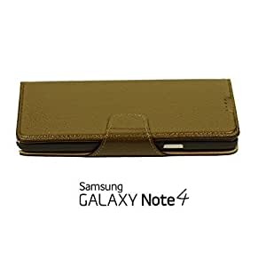 OnlineBestDigital - 100% Handmade Genuine Leather Flip Wallet Case for Samsung Galaxy Note 4 - Lightbrown with 3 Screen Protectors