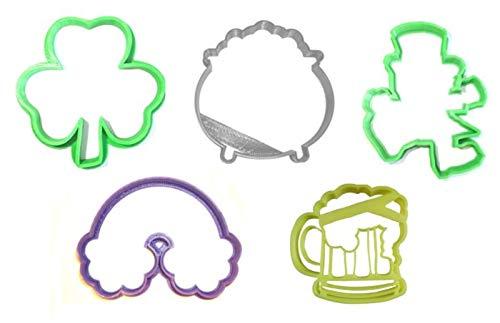 SAINT PATRICK'S DAY SHAMROCK LEPRECHAUN RAINBOW POT OF GOLD BEER MUG ST PATTY'S PARTY CELEBRATION SET OF 5 SPECIAL OCCASION COOKIE CUTTER BAKING TOOL 3D PRINTED MADE IN USA - St Cutter Cookie Patty