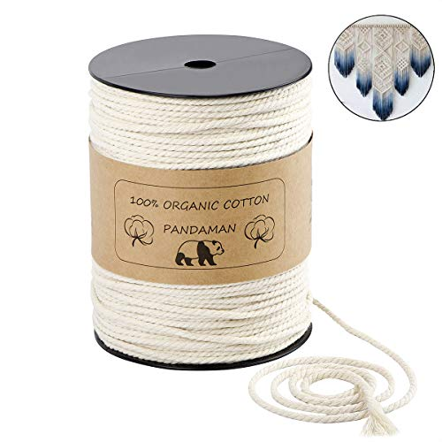 Macrame Cord,PANDAMAN 3mm x 240 Yards (About 220m) Natural Cotton Soft Unstained Rope for Handmade Plant Hanger Wall Hanging Craft Making Bohemia Dream Catcher DIY Craft Knitting