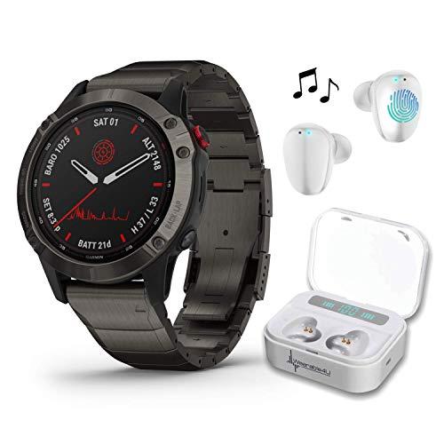 Garmin Fenix 6 Pro Solar Premium Multisport GPS Smartwatch with Included Wearable4U Ultimate White Earbuds with Charging Power Bank Case Bundle (Titanium Carbon Gray DLC w/Titanium DLC Ban)