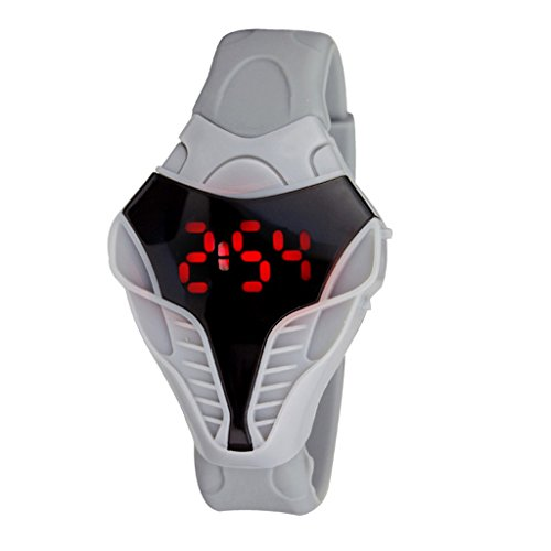 Fanmis LED Digital Fashion Cobra Watch White Silicone Iron Triangle Dial Sports Wristwatch (Cobra Led)
