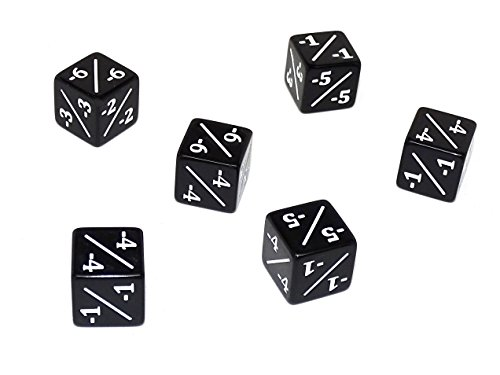 6 Pack of Black Dice Counters -1/-1 for MTG Magic The Gathering and Others
