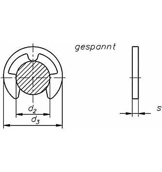 Reidl Sicherungsscheiben f/ür Wellen 1,2 mm DIN 6799 1.4034//1.4122 blank 100 St/ück